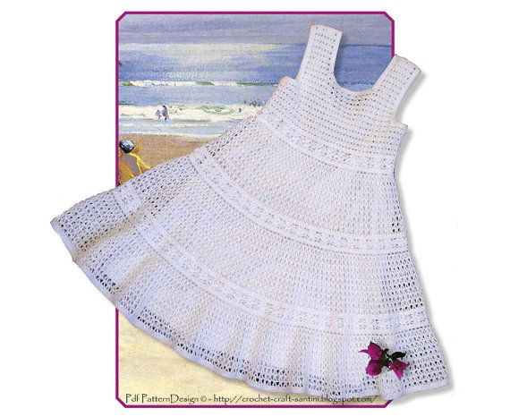 White Lace Crochet Dress for Toddler Girls  Instant Download