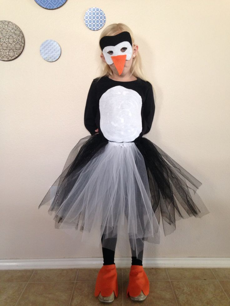 Homemade penguin costume.