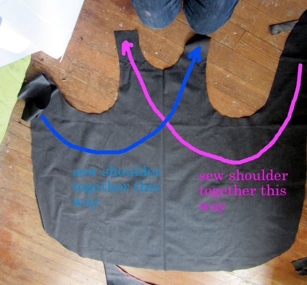 How to make möbius apron. Picture of sew opposite shoulders together. Must find appropriate fabric