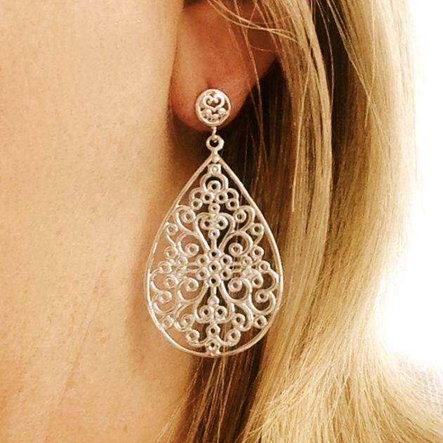 Dahlia Sterling Silver Drop Earrings