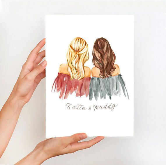 Personalized bridesmaid gift ideas illustration, mothers day gift idea, bridesmaids illustration, br