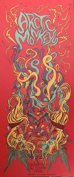 Arctic Monkeys - Classic heavy metal rock music concert psychedelic poster ~ ☮ レ o √ 乇 !!
