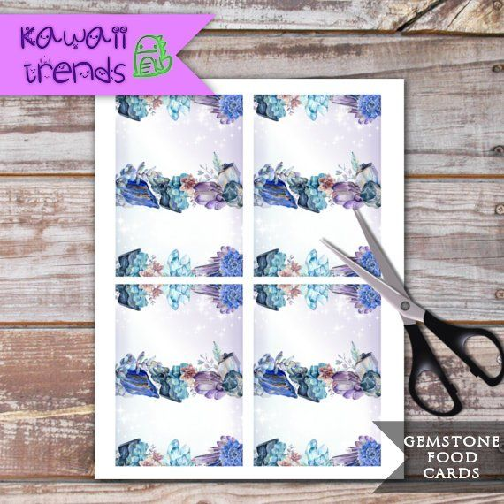 Editable Gemstone Food Labels Printable Party Decor Precious Stone Tent Cards INSTANT DOWNLOAD Crystal Place Cards Gem Food Tents