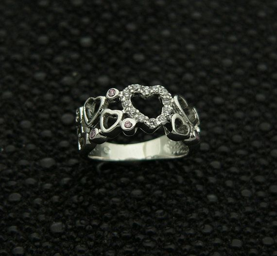 new,925,sterling,silver,classic,ladies,heart,shape,design,ring,band,handset,cz,rhodium,plated,plus,jewelry,gift,box