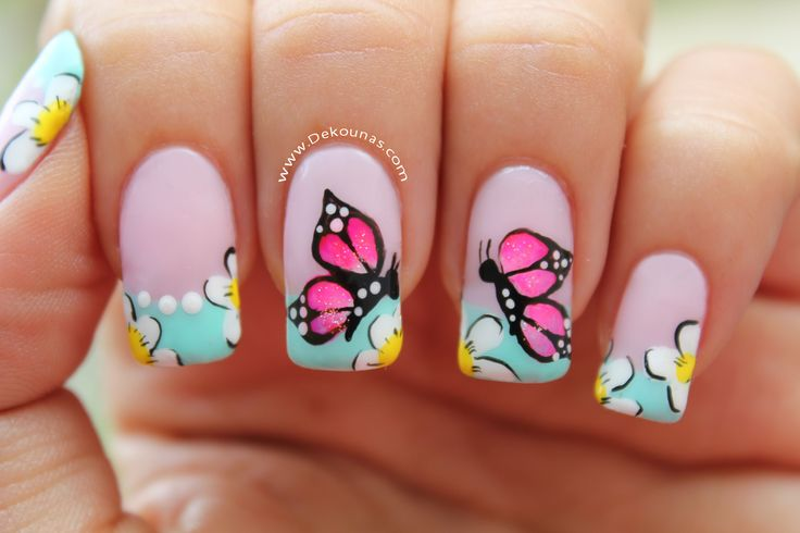Decoración de uñas mariposas - Butterfly nail art. www. Dekounas.com Video - tutorial: https://www.youtube.com/watch?v=nhR4Q5RJyU4