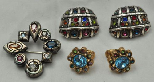 Patricia-Locke-Crystal-Jewelry-Lot-2-Pair-Earrings-amp-Brooch-Pin-Multi-Color