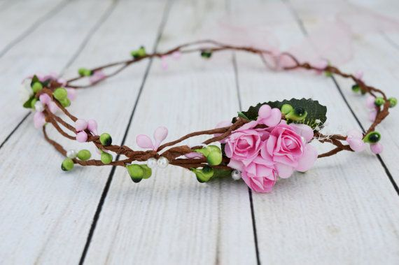 Pink flower girl crown Rustic hair wreath Baby's by LumilinA