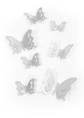"""Adesivi a specchio """"Farfalle 3D"""" (set 7 pezzi), bpc living, Argento"""