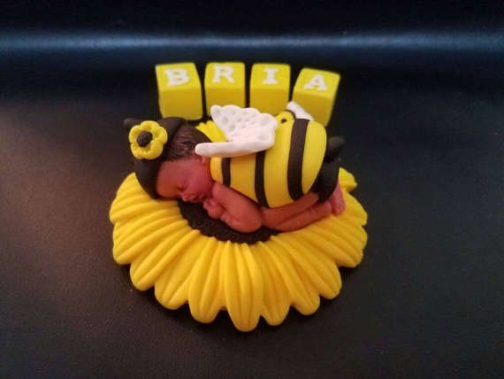 Fondant Bumble Bee Baby Cake Topper With Letter Blocks For Shower Birthday Party Favor