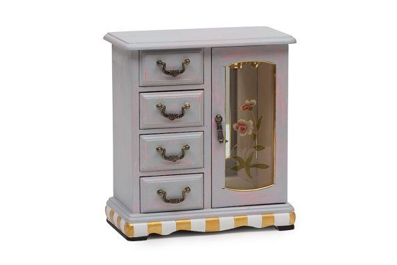 $40. Painted Jewelry Box, Mirrored Box, Tall Jewelry Storage, Four Drawer Storage, Glass Door, Grey, Pink Painted, Gold