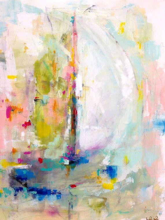 Colorful Abstract Sailboat Original Painting by lindadonohue