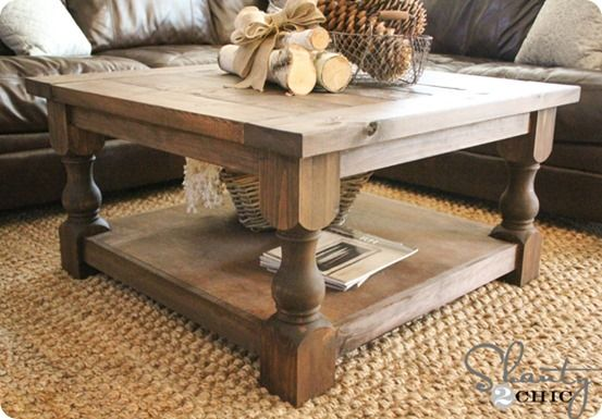 Square Coffee Table with Turned Legs {a Pottery Barn knock off}