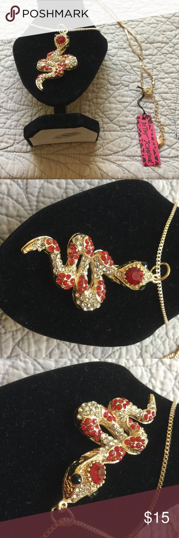 Betsey Johnson Snake Necklace New, 16 inches long with chain.  The snake is 2 1/2 inches long.  Snake is gold with diamond like and red jewels with black eyes. Betsey Johnson Jewelry Necklaces
