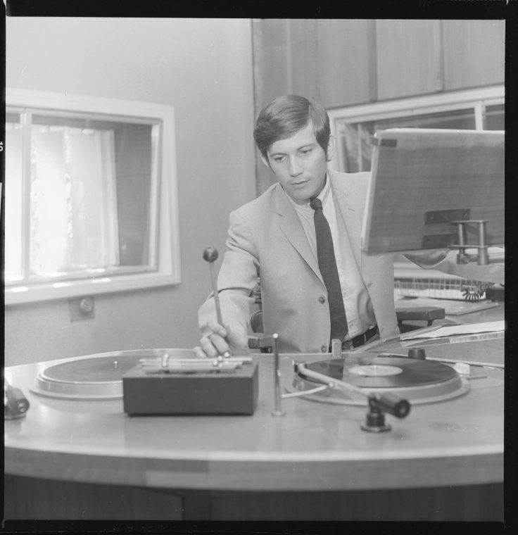 331562PD: Peter Holland, ABC Radio announcer in the studio, Perth, 1969.  http://encore.slwa.wa.gov.au/iii/encore/record/C__Rb3043437__SRadio%20broadcasters%20--%20Western%20Australia%20--%20Photographs.__Orightresult__X3?lang=eng&suite=def