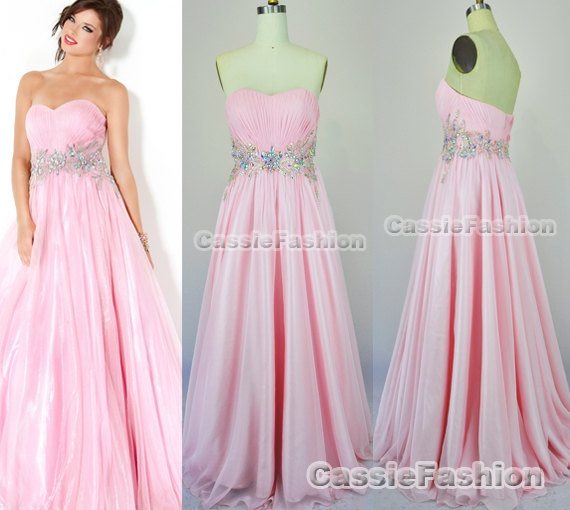 Strapless Sweetheart Beading Chiffon Prom Dresses Party Dress, Evening Gown, Wedding Dress, Bridesmaid Dress Cocktail Dress,Dance