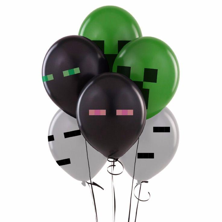 Minecraft Balloons (Enderman, Ghast, Creeper) Birthday Party…