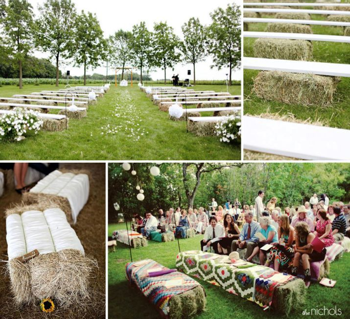 Hay-bale ceremony seating