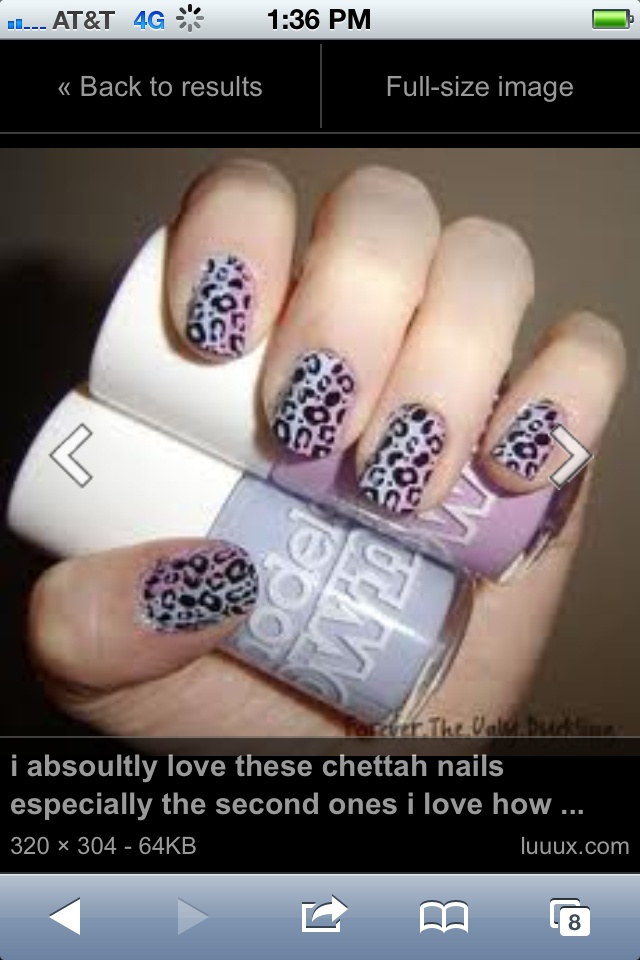Cute nails leopard print colors r white black pink