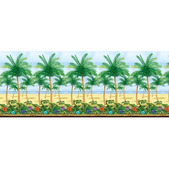 Betover een lege ruimte in een Hawaii Themafeest! Een gigantische (dun)plastic poster van 12,2 meter breed bedrukt met palmbomen. Formaat: 1,22 x 12,2 meter. Perfect te combineren met andere scenesetters! De scenesetter kunnen door middel van nietjes of plakgummetjes worden opgehangen.