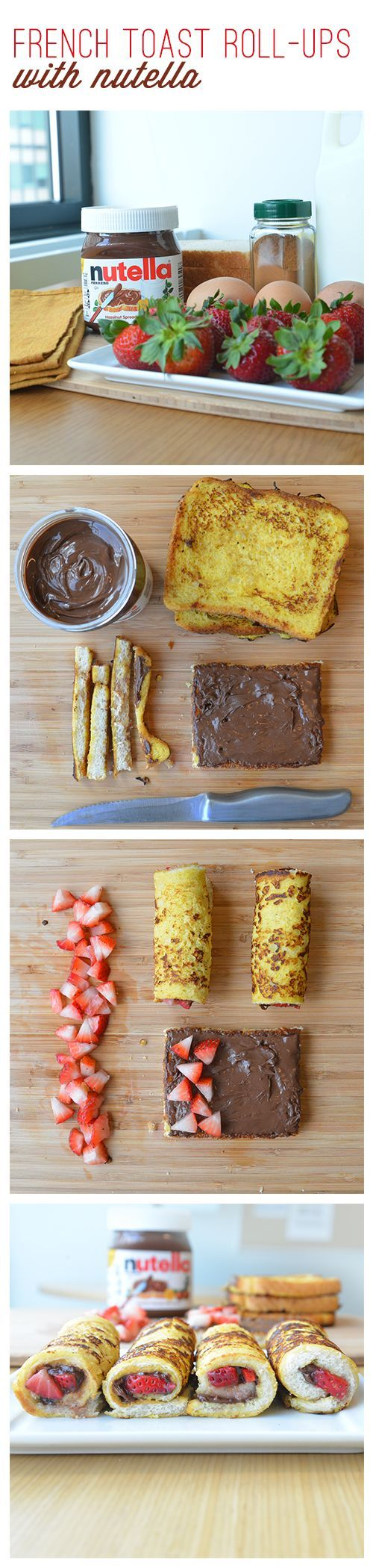 Keep your mornings rolling with this fork-free French toast Nutella® and strawberries breakfast idea. First prepare your own French toast recipe. Then remove the crusts. Spread Nutella® on each slice. Sprinkle with cleaned and cut strawberries. Roll them up and hand them out. Your kids will love the all-in-one-bites as much as you'll love the all-in-one-convenience.