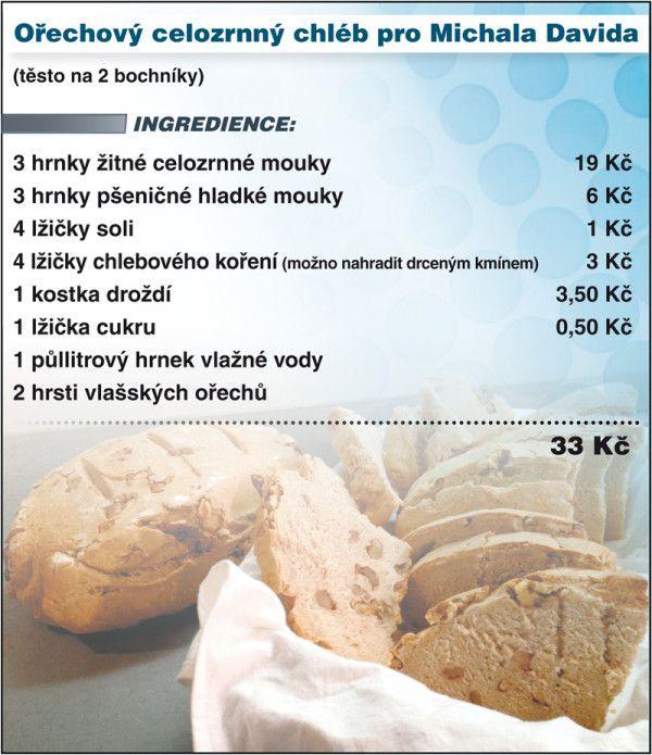 Levně a chutně s Ladislavem Hruškou - Ořechový celozrnný chléb pro Michala Davida