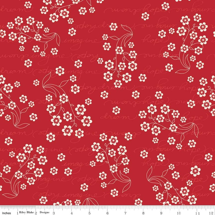 """Riley Blake Designs  Flutter Dream Red  -By The Quilted Fish  - 100% cotton, 43/44"""""""