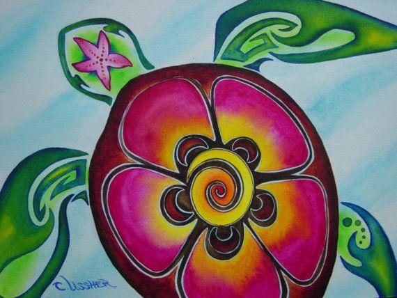"Sea Turtle, Fine Art ""Color Splash"" Framed Hawaiian Turtle Painting Art Print, Matted and Framed on Etsy, $65.00"