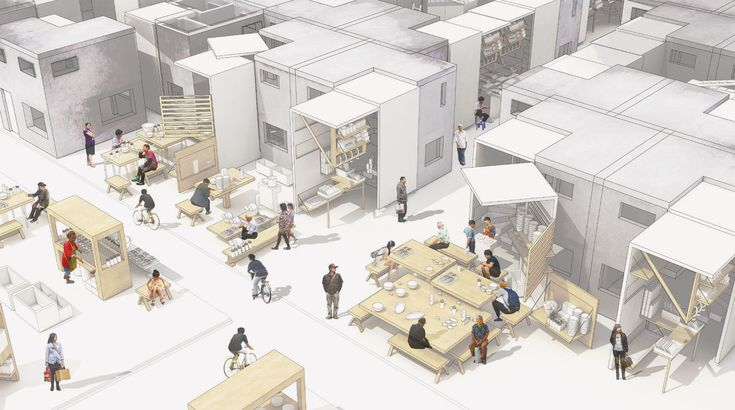 Norine chu , Beijing Market Housing - Flexible urban fabric that incorporates street markets, dwellings and shared living spaces.