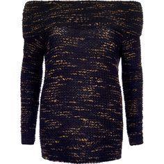 Navy oversized boucl    Navy oversized boucle bardot top - £32  #RiverIsland  #menfitness #mensfitness #mensports #sweatshirts #hoodies #fitmen