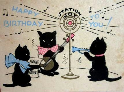 Cute Art Deco Gold Gilded Birthday Card Showing 3 Black Cats Playing Music Into A Radio Station Microphone