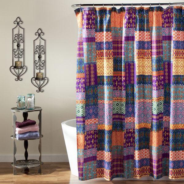 Lush Decor Misha Orange Shower Curtain