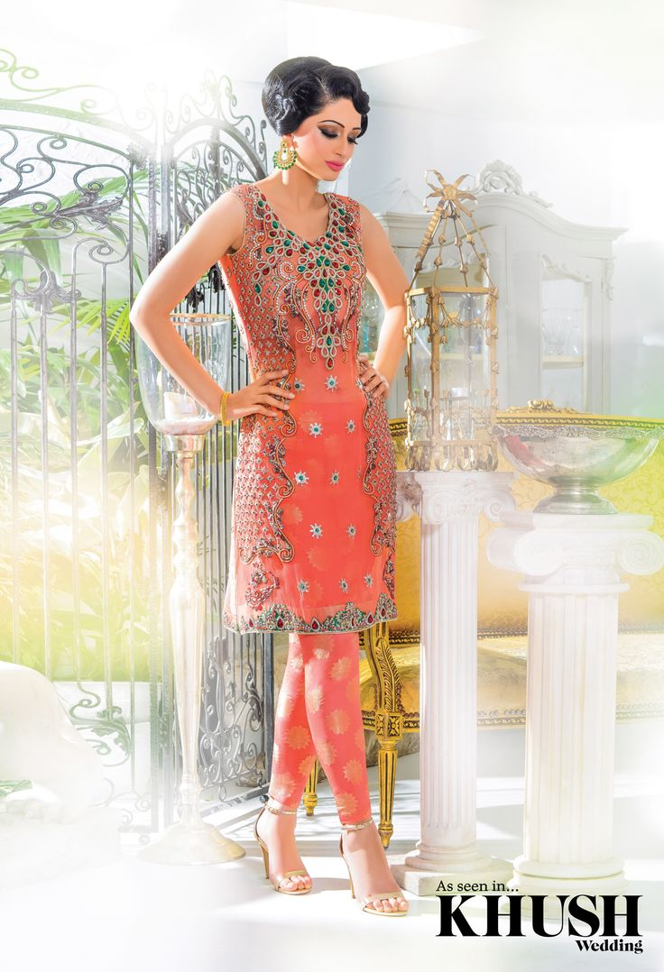 Dress in the seasons most favourite colour! This coral churidar is ideal for the upcoming summer weddings London based designer Aleezay  By Appointment only 128 Woodlands Road, Ilford, Essex, IG1 1JP +44(0)208 911 8810 • +44(0)7572 874 370  Makeup: Shazia Khan MUA Hair: Shamalah Jewellery: Anees malik Location: Ninety Eight Bar