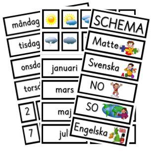 Schemabilder utan bakgrundsfärger - dagar, datum, väder, månader och schema.