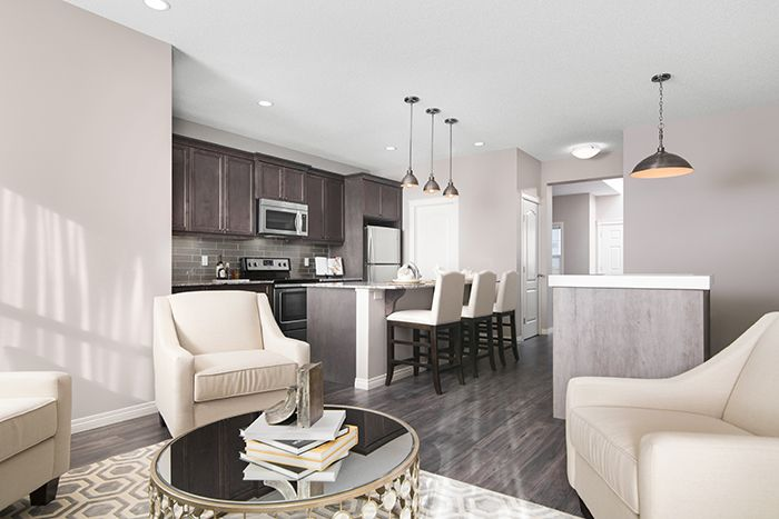 Main living area  in the Wysteria showhome in the community of Redstone in northeast Calgary