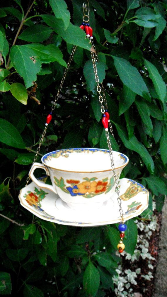 Vintage Tea Cup Bird Feeder, Hanging Plant Holder, Hanging Garden Accent, Porch Decor, Recycled Glassware, Upcycled, Recycled Jewelry Art