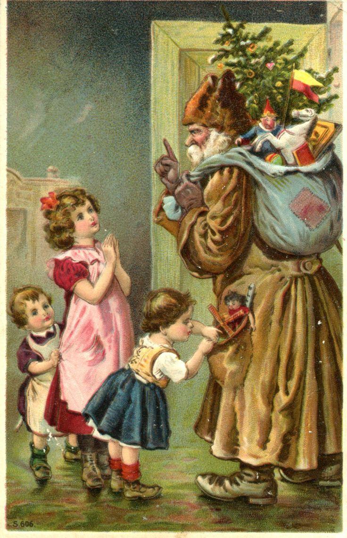 1916 Christmas Postcard Green Robe Santa Father Christmas Children Toys Horse | eBay: