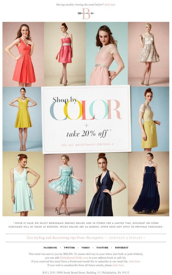 Anthropologie   04.2013 I like how the font colors in this ad match the dresses that surround it. It creates a color theme that works really well and could be carried out in different designs.