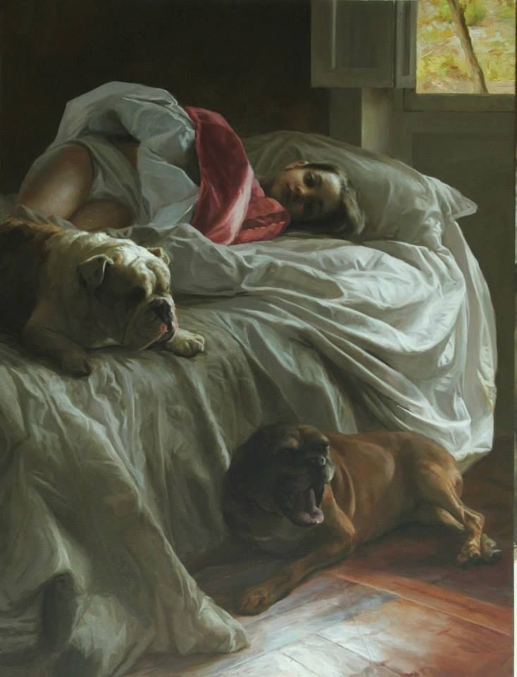 Guillermo Lorca Pintura Niña en cama.