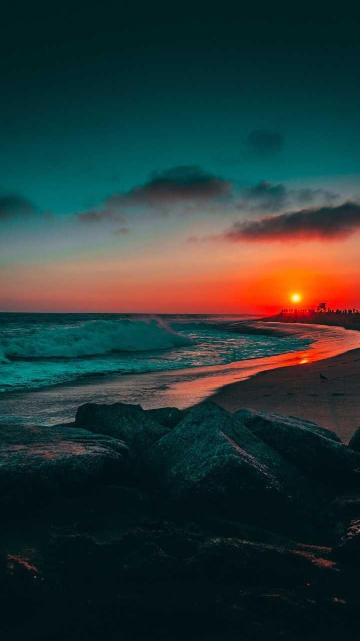 Sunset Orange Blue Sky Ocean Water Rocks Clouds
