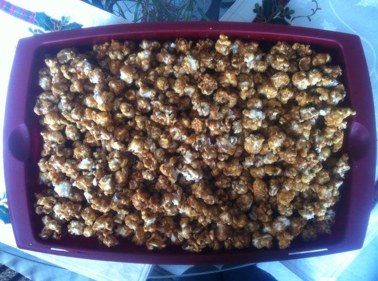 Homemade peanut caramel corn