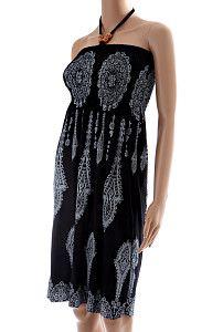 Krátke čierne šaty Futur Etno  Príjemné elastické letné šaty nad kolená, bez ramienok, so zaväzovaním za krkom, s kvetinovým vzorom v čierno-bielej kombinácii. Šaty sú vhodné aj ako dlhšia sukňa, ak sa nosia na páse. Kvalitná viskózová látka s prímesou elastanu pre ešte príjemnejšie nosenie.  http://www.yolo.sk/saty/kratke-cierne-saty-futur-etno