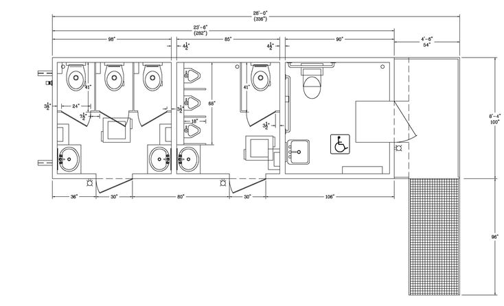 ada poortable restroom building | Bathroom dimensions, Ada ...