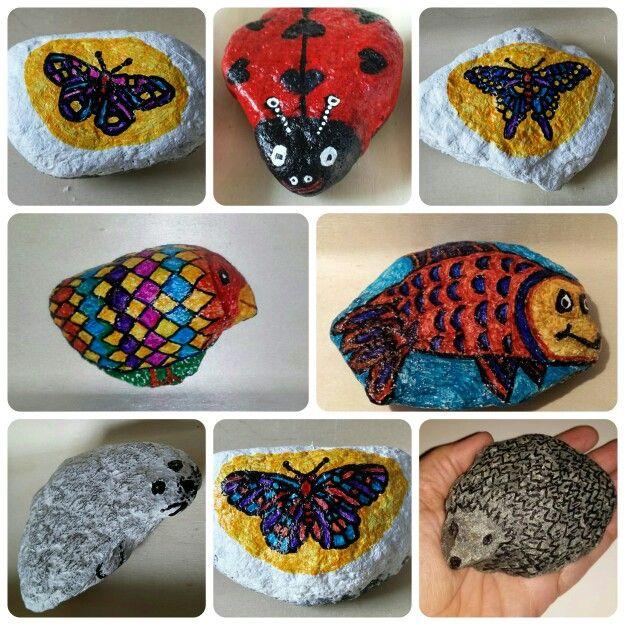 Werken met stenen verf en watervaste stiften