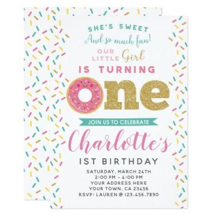 Donut 1st Birthday Invitation - birthday cards invitations party diy personalize customize celebration