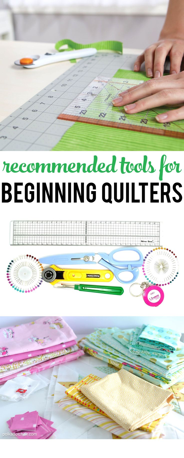 A great list of recommended tools for people who are just beginning to quilt. [spon]