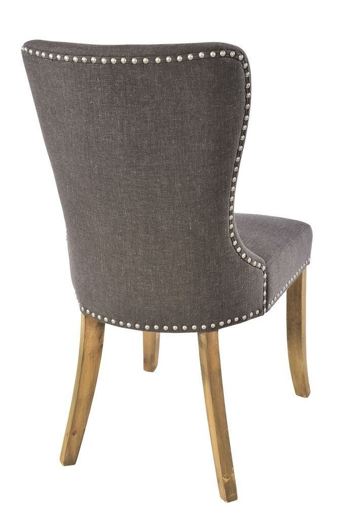 Adele Grey Upholstered Dining Chairs Pair