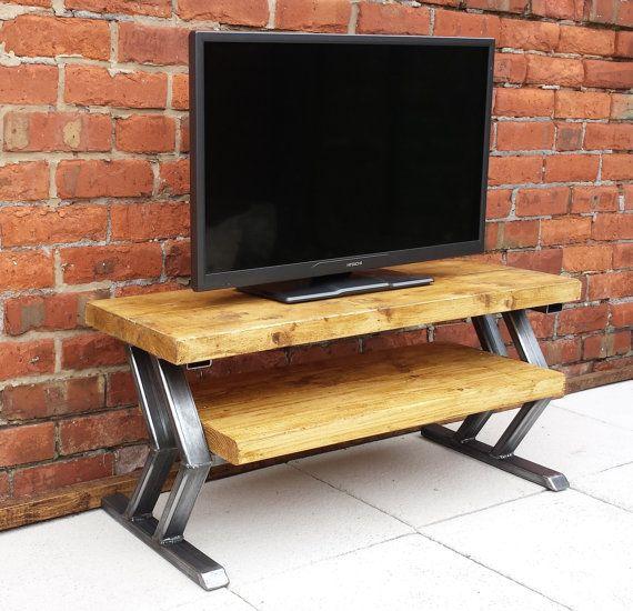 Chevron design rustic TV stand / unit by Redcottagefurniture