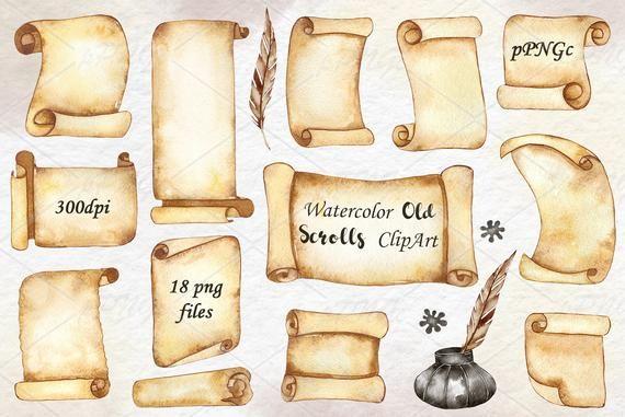 Watercolor Scroll Paper Clipart Parchment Paper Clip Art Etsy In 2020 Paper Clip Art Clip Art Business Card Design Creative