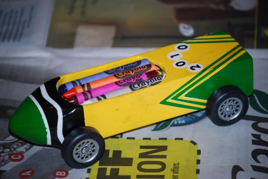 Pinewood Derby car ~ Crayola Crayons box