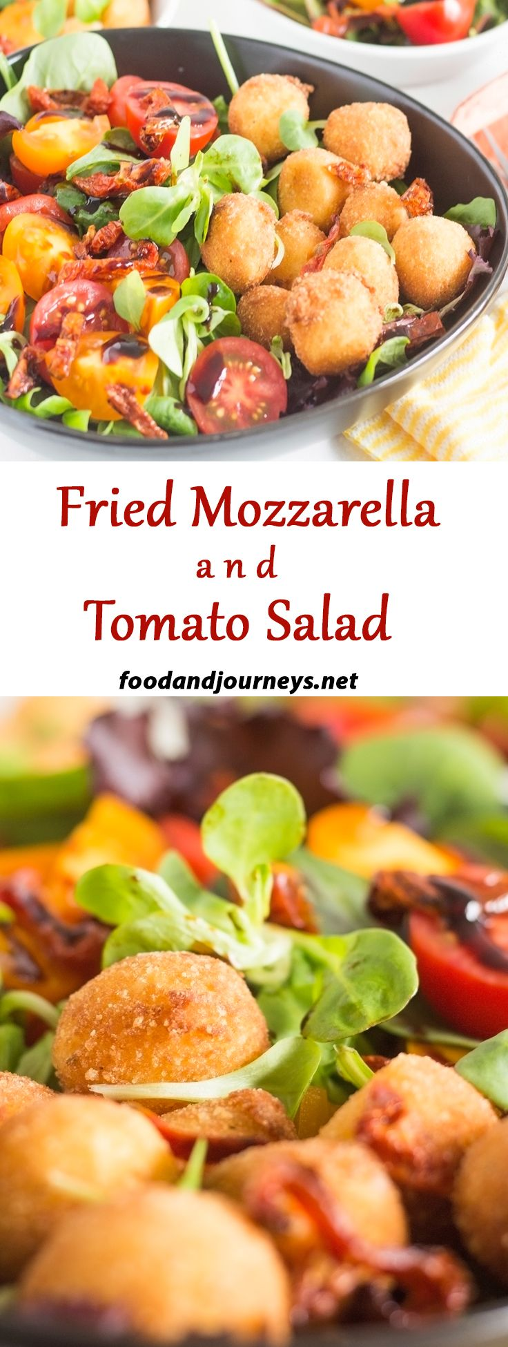 A salad that can be served as an appetizer or main dish! Tomatoes, leafy greens and fried mozzarella balls! Filling and satisfying!